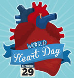 Healthy Heart and Ribbon to Remind you World Heart Day, Vector Illustration. Poster with giant heart decorated with a blue ribbon and a loose-leaf calendar with Stock Images