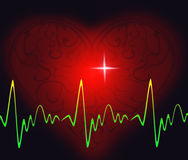 Healthy heart rythm. Vestor illustration of the decorative heart with a heart rythm Royalty Free Stock Photo