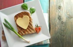 Healthy heart shape sandwich Royalty Free Stock Photos