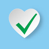 Healthy heart Status Icon with green chek. Royalty Free Stock Photo