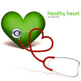 Healthy heart with stethoscope Stock Photography