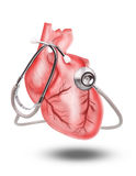 Healthy heart  with stethoscope on white background use for hear Royalty Free Stock Image