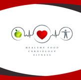 Healthy heart symbol. Wellness symbol. Healthy food and fitness leads to healthy heart. White background Stock Photo