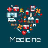 Healthy heart symbol with medical services icons. Healthy heart symbol for health care concept or medical services design with flat icons of doctor, hospital and Royalty Free Stock Image