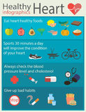 Healthy heart. Vector illustration in a flat style. Infographic how to keep your heart health Stock Photo