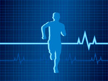 Healthy Heartbeat vector illustration. A  illustration of a heart monitor (EKG) with the silhouette of a runner Royalty Free Stock Photography