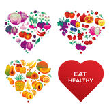 Healthy hearts. Heart shapes made of vegetables and fruits, isolated on white background vector illustration