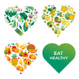Healthy hearts. Heart shapes made of vegetables and fruits, isolated on white background stock illustration