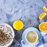 Healthy hearty breakfast - copy space. A healthy hearty breakfast - muesli, coffee, orange and juice. Copyspace Stock Photography