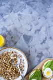 Healthy hearty breakfast - copy space. Healthy hearty breakfast - muesli, sandwich with egg, coffee, orange and juice. Copyspace Royalty Free Stock Images