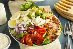 Healthy Hearty Cobb Salad. With Chicken Bacon Tomato Onions and Eggs stock photo