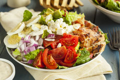 Healthy Hearty Cobb Salad. With Chicken Bacon Tomato Onions and Eggs stock photos