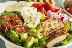 Healthy Hearty Cobb Salad. With Chicken Bacon Tomato Onions and Eggs royalty free stock images