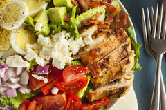 Healthy Hearty Cobb Salad. With Chicken Bacon Tomato Onions and Eggs stock image