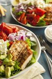 Healthy Hearty Cobb Salad. With Chicken Bacon Tomato Onions and Eggs royalty free stock image