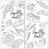 Healthy and Hearty Food. Organic restaurant banner template. Linear graphic Stock Photo