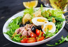 Healthy hearty salad of tuna, green beans, tomatoes, eggs, potatoes, black olives stock photos