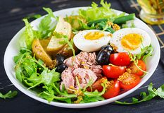 Healthy hearty salad of tuna, green beans, tomatoes, eggs, potatoes, black olives royalty free stock photo