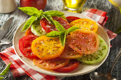 Healthy Heirloom Tomato Salad Stock Photos