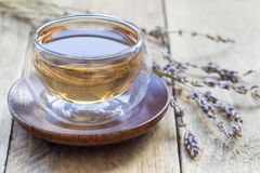 Healthy herbal lavender tea in oriental glass cup with flowers on background, horizontal Royalty Free Stock Photography