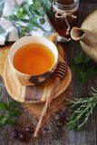Healthy herbal tea with medicinal herbs, dog rose and honey Royalty Free Stock Image
