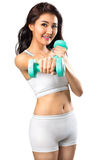 Healthy hispanic young asian woman with dumbbells working out Royalty Free Stock Photo
