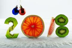 Healthy holidays food and diet. New year`s decisions about a healthy lifestyle. New trends and perspectives in fitness, healthy lifestyle, sports nutrition Stock Images