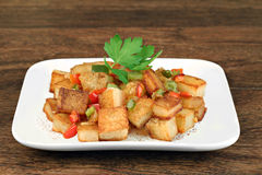 Healthy home fried potatoes Royalty Free Stock Photography