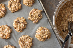 Healthy homemade banana and oatmeal cookies dough before baking Stock Image