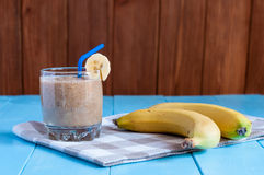 Healthy homemade chocolate banana smoothie in Royalty Free Stock Photos