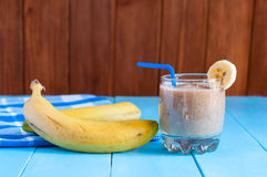 Healthy homemade chocolate banana smoothie in Stock Image