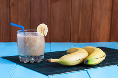 Healthy homemade chocolate banana smoothie in Royalty Free Stock Photography