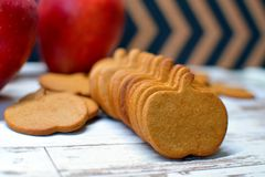 Apple, apple shaped, baked, bakery, biscuit, biscuits, closeup, cookie, cookie cutter, cracker, decoration, delicious, dessert, di stock photo