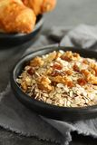 Healthy homemade granola on gray background Stock Photos