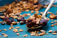 Healthy homemade granola with nuts and dried cranberries Royalty Free Stock Photography