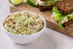 Healthy homemade guacamole, avocado  dip Royalty Free Stock Photography