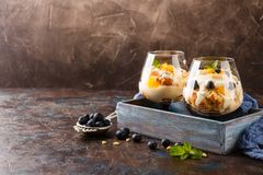 Healthy layered dessert trifle. Healthy homemade layered dessert trifle with orange, blueberry, biscuit, yogurt and granola in a glasses in wooden box. Place for Stock Photo