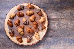 Healthy homemade Maple Acorn Cakelets, acorn shape cookies on wood slice serving board, server, tray. Wooden background. Top view Royalty Free Stock Photos