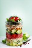 Healthy Homemade Mason Jar Salad with Quinoa and Veggies Royalty Free Stock Image