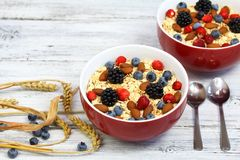 Healthy homemade oatmeal  breakfast Royalty Free Stock Images