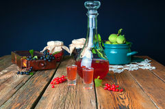 Healthy homemade red currant tincture stock photo