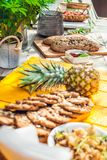Healthy homemade biscuits from oat flakes laid on orange table Royalty Free Stock Image