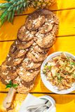Healthy homemade biscuits from oat flakes laid on orange table Royalty Free Stock Photo