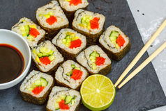 Healthy homemade sushi rolls Stock Photos