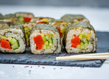 Healthy homemade sushi rolls Royalty Free Stock Photos