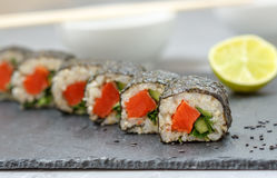 Healthy homemade sushi rolls Stock Photography