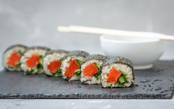 Healthy homemade sushi rolls Stock Images