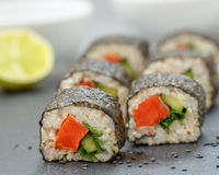 Healthy homemade sushi rolls Stock Image