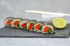 Healthy homemade sushi rolls Stock Photo