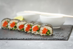 Healthy homemade sushi rolls Royalty Free Stock Photo